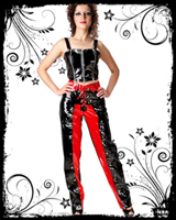 Black Red PVC Trouser