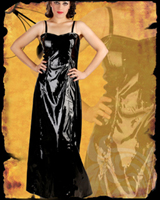 Black PVC Witch Long Dress