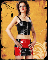 Red Black Square PVC Mini Skirt