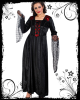 Red & Black Velvet Long Dress