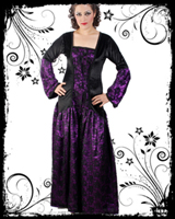 Purple & Black Long Gothic Dress : Gothic Corset, Gothic Shirt, Gothic Dresses