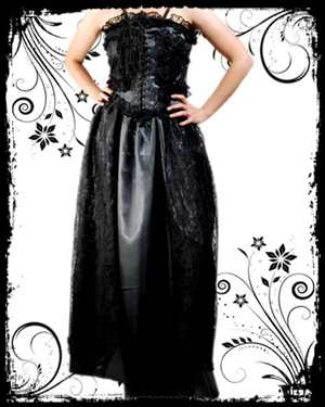 Black Polyester Gothic Dress