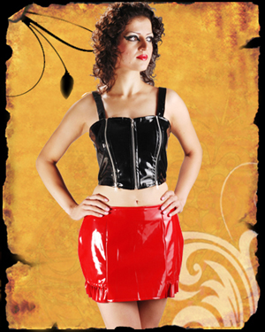 Black & Red PVC Frilly Mini Skirt