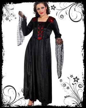 Blackshirt Dress on Gothic Clothing    Gothic Dress    Red   Black Velvet Long Dress