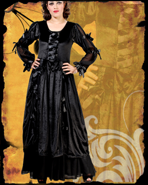 Satin Ribbon Velvet Dress : Gothic Corset, Gothic Clothing, Pirate Shirt
