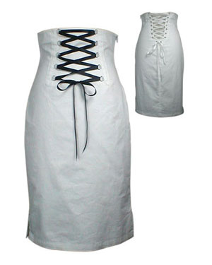 Punk Goth Switchblade Stiletto Corset Skirt (White)