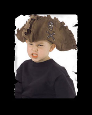 Kids' Tattered Pirate Brown Hat