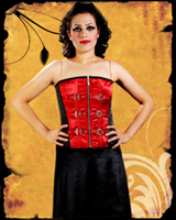 Black Red Buckle Corset