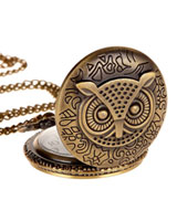 Owl Quartz Pocket Chain Watch Pendant Necklace (with Padded Box)