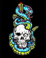 Blue Snake with Skull T-shirt